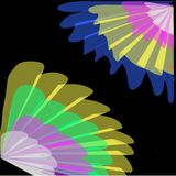 Abstract black background of colored swirling lines of petals like a fan Stock Photo