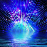 Abstract black background with colorful bursts of light Stock Photos