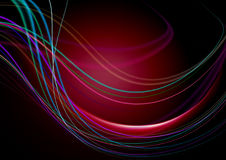 Abstract black background and concave stripes on the red back light Royalty Free Stock Photography