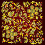 Abstract black background with floral ornament Stock Photo