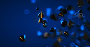 Abstract black background with geometric shapes, depth of field and bokeh. Neon futuristic backdrop. 3D render. Illustration stock photos