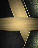 Abstract black background with gold lines and sign for text. Element for design. Template for design. copy space for ad brochure o Royalty Free Stock Photo