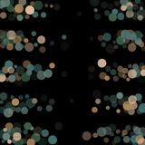 Abstract background confetti transparent dots. Abstract black background with golden and blue confetti transparent dots. Elements of different size and color Stock Image
