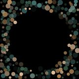 Abstract background confetti transparent dots. Abstract black background with golden and blue confetti transparent dots. Elements of different size and color Royalty Free Stock Photography