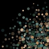 Abstract background confetti transparent dots. Abstract black background with golden and blue confetti transparent dots. Elements of different size and color Royalty Free Stock Image