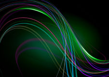 Abstract black background with green back lit with wavy strips. Abstract black background with green back lit with falling wavy colored strips royalty free illustration