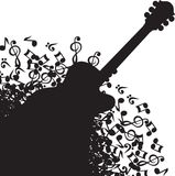 Abstract black background with guitar and notes.  Stock Photography