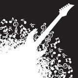 Abstract black background with guitar and notes.  Royalty Free Stock Photography
