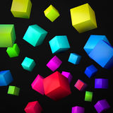 Abstract black background made of color cubes Stock Photos