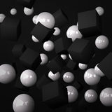 Abstract black background made of white spheres and black cubes. This illustration is a 3d render representing an abstract black background made of white spheres Royalty Free Stock Photography
