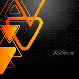 Abstract Black Background With Orange Triangles Stock Photos