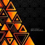 Abstract Black Background With Orange Triangles Royalty Free Stock Images