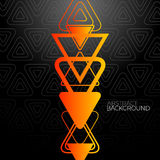Abstract Black Background With Orange Triangles Royalty Free Stock Photo