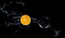 Abstract on black background. Abstract with orange and water on black background Royalty Free Stock Images