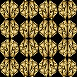 Abstract black background with patterns composed of golden shards Stock Image