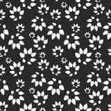 Abstract black background with stylized leaves. Vector seamless pattern for design Royalty Free Stock Photos