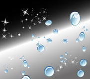 Abstract black background with Water drops and stars. 