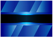 Abstract black banner blue hexagon mesh design luxury background texture vector. Stock Photography