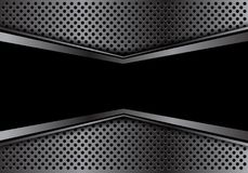 Abstract black banner in gray arrow circle mesh design modern luxury futuristic background texture vector. Stock Photo