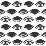 Abstract black blinking feminine eyes with lashes pattern on white. Abstract black blinking feminine cool eyes with lashes pattern on white background Stock Image