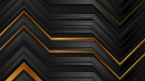 Abstract black and bronze glossy stripes technology video animation stock footage