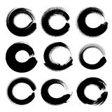 Abstract black circle textured ink strokes set Stock Image