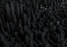 Abstract black city. Aerial view. 3d illustration Stock Image