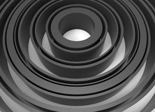 Abstract black concentric circles. 3D rendered illustration of multiple black concentric circles  on a white background with shadows Stock Image