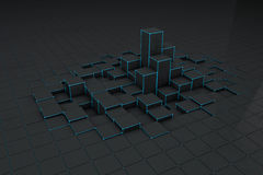 Abstract black 3d blocks background. Abstract black 3d blocks dark background royalty free illustration