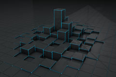 Abstract black 3d blocks  background Stock Images