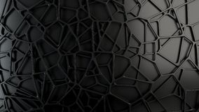 Abstract 3d grate on black background. Abstract black 3d grate on black background. Speaker grille. Chaotic line structure. 3D render illustration Royalty Free Illustration