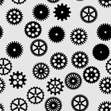 Abstract  black flat gears seamless pattern. On gray background Stock Photos