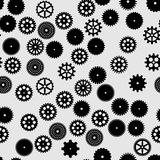 Abstract  black flat gears seamless pattern. On gray background Stock Photography