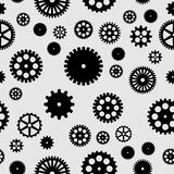 Abstract  black flat gears seamless pattern. On gray background Stock Photo