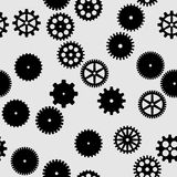 Abstract  black flat gears seamless pattern. On gray background Stock Images