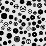 Abstract  black flat gears seamless pattern. On gray background Royalty Free Stock Images