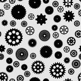 Abstract black flat gears seamless pattern. On gray background Vector Illustration