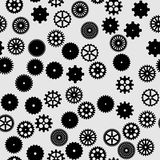 Abstract  black flat gears seamless pattern. On gray background Royalty Free Stock Photo