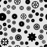 Abstract black flat gears seamless pattern. On gray background Royalty Free Illustration
