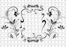 Abstract black floral ornament. Illustration of abstract black floral ornament with background Stock Photo