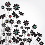 Abstract black flowers. Gray flowers, beautiful bouquet of daisies with blue and red cores vector illustration