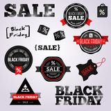 Abstract Black Friday labels and tags on a white Stock Photos