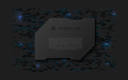 Abstract black futuristic soft welcome screen. Metal technology plate on chaotic scheme background stock illustration