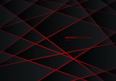 Abstract black geometric polygon on red laser light neon futuristic technology design concept background royalty free illustration