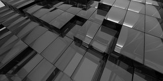 Abstract black glass background of 3d blocks. Place Stock Photo