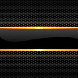 Abstract black glossy banner gold line on honeycomb mesh pattern design luxury background vector Royalty Free Stock Photography