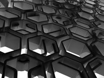 Abstract black glossy honeycomb structure. Background, 3d render illustration Stock Photography