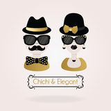 Abstract black and golden Chichi & Elegant male and female couple icons Royalty Free Stock Photo