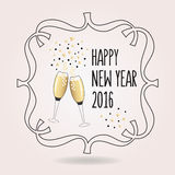 Abstract black and golden Happy New Year 2016 cheers icon. With pair of champagne glasses Royalty Free Stock Image