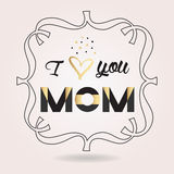 Abstract black and golden I love you MOM icon Stock Photography